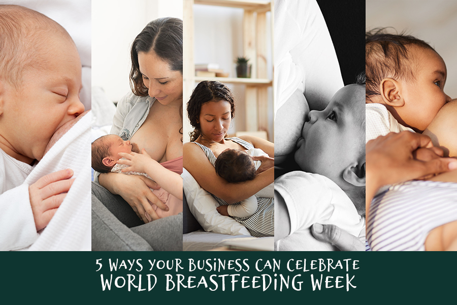 Collage of 5 images of people breastfeeding