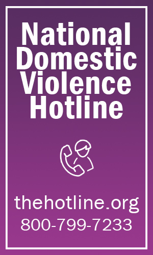 Graphic of the hotline contact information thehotline.org 800-799-7233
